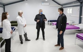 Vicente López: Jorge Macri y Alberto Fernández recorrieron obras finalizadas de Hospital de Campaña en un polideportivo